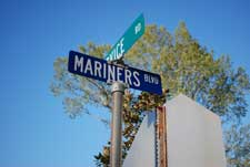 Mariners Boulevard Street Sign